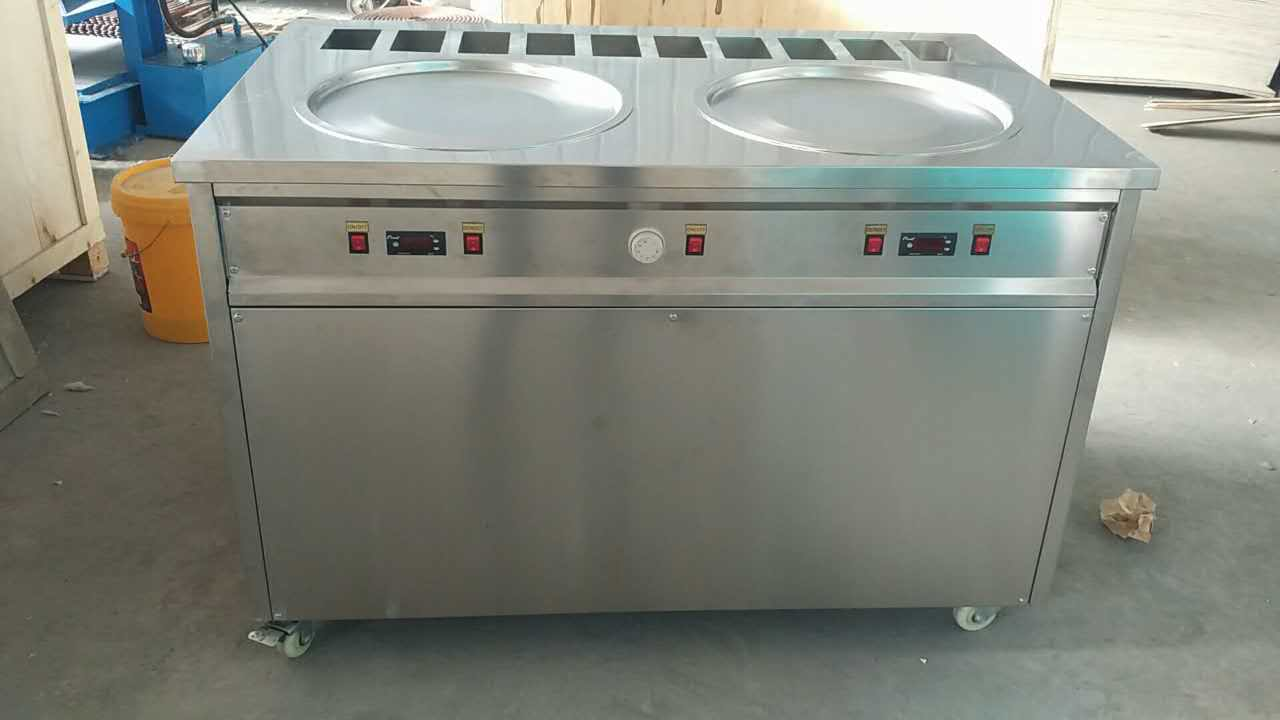 New Double Pan With 10 Precooling Pans Flat Pan Ice Cream Machine
